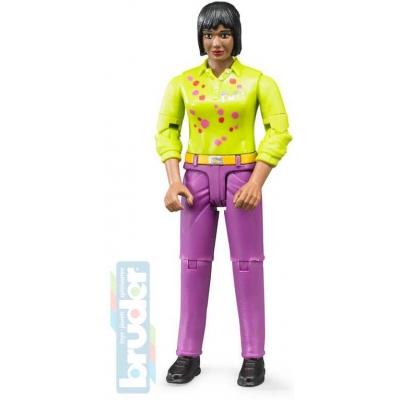 BRUDER 60403 Figurka žena černoška fialové kalhoty 11cm tmavá pleť plast