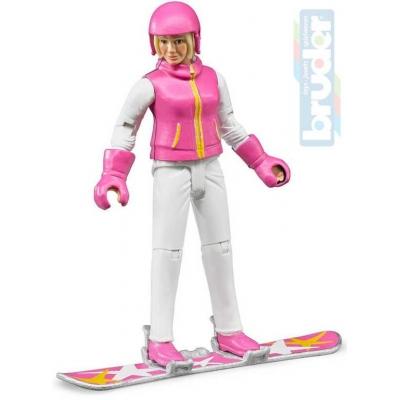 BRUDER 60420 Figurka snowbordistka 11cm set s prknem a doplňky plast