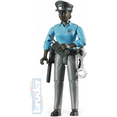 BRUDER 60431 Figurka policistka tmavá pleť 11cm černoška set s doplňky plast