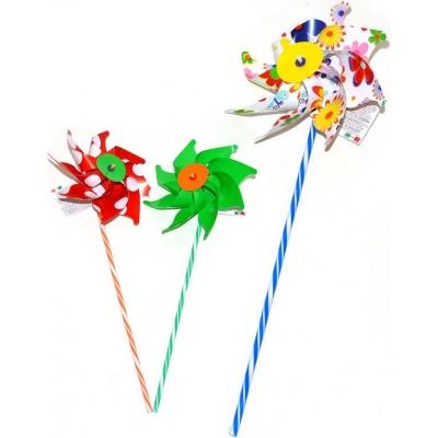 Větrník klasický růžice metalický pruhovaná tyčka 3 barvy H19R