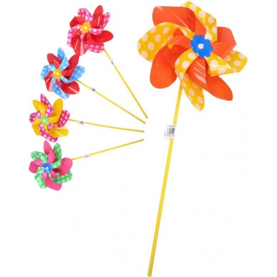 Větrník klasický růžice s tečkami plastová tyčka 5 barev K17