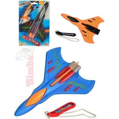 SIMBA Letadlo soft vystřelovací 20cm na gumku 3 barvy plast na kartě