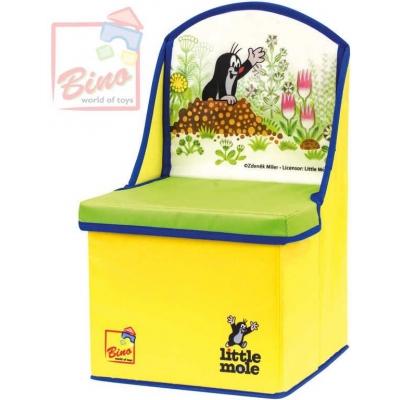 BINO KRTEK Krabice na hračky box 2v1 dětská židlička Krteček žlutá plast karton