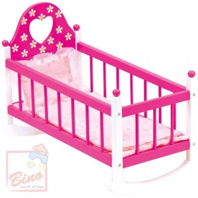 BINO DŘEVO Kolébka s peřinkami pro panenku miminko růžová