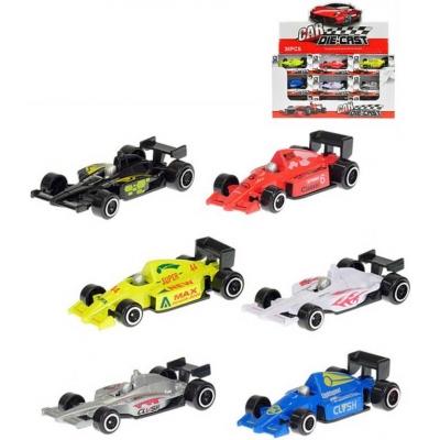 Auto závodní formule 7,5cm model 1:87 volný chod kov 2 druhy 6 barev