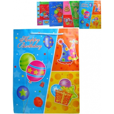 Párty taška papírová veselá 23x30cm Happy Birthday narozeninová 4 druhy