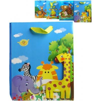 Párty taška papírová veselá 18x23cm se zvířátky Afrika se třpytkami plastická