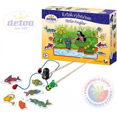 DETOA KRTEK rybářem hra v krabici * DŘEVĚNÉ HRAČKY *