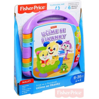 FISHER PRICE Baby knížka hudební učíme se říkanky CZ na baterie Světlo Zvuk