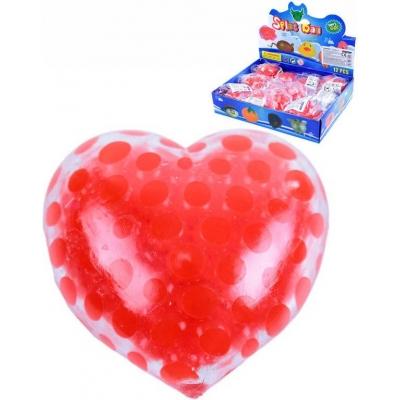 Srdce míček antistresový 6cm měkký mačkací s kuličkami