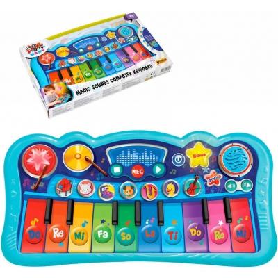 Piano dětské baby elektronické klávesy 33cm na baterie REC Světlo Zvuk