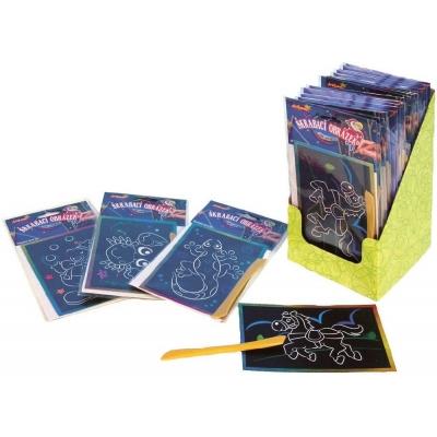 Obrázek škrabací třpytivý barevný 15x10cm hologramový set s nástrojem různé druhy