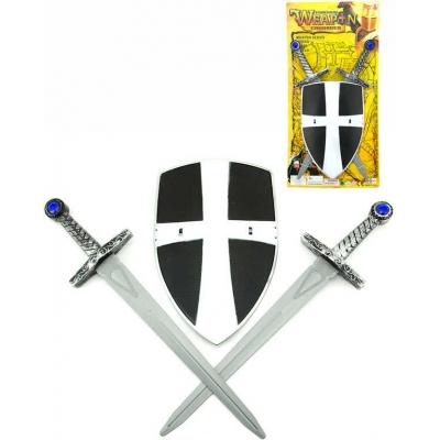 Sada rytířská 2 meče 49cm + štít stříbrný plast na kartě