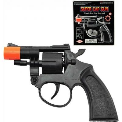Pistole černá dětský kolt plastový na kapsle 8 ran na kartě