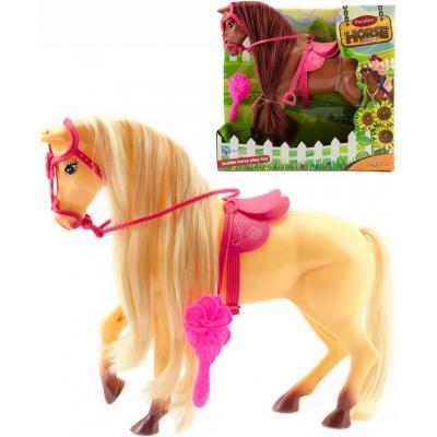 Kůň česací plastový 28cm set s hřebenem dlouhá hříva 2 barvy v krabici