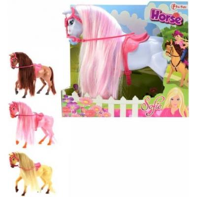 Kůň plastový Sofie s dlouhou hřívou česací 4 barvy v krabici