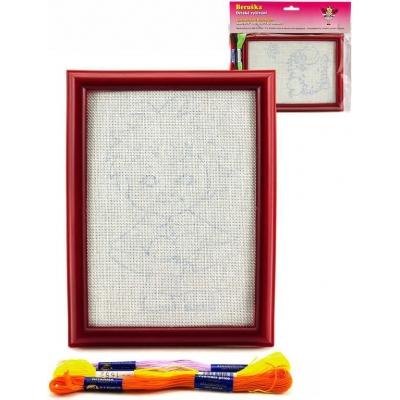 Vyšívání set rámeček na pověšení s předlohou a přízí 3ks různé druhy v sáčku