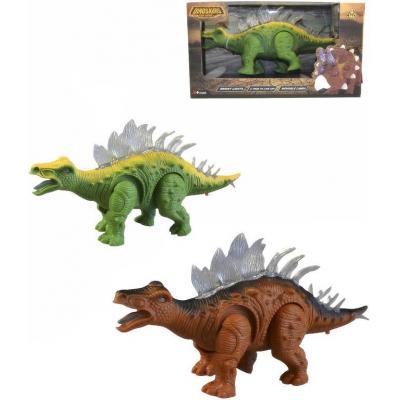 Dinosaurus hnědý plastový na baterie pohyblivý Světlo Zvuk v krabici