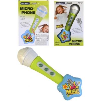 Mikrofon dětský plastový holčičí 22cm na baterie Světlo Zvuk na kartě