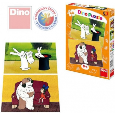 DINO Puzzle 48 dílků 2v1 Večerníčky Bob a Bobek Maxipes Fík