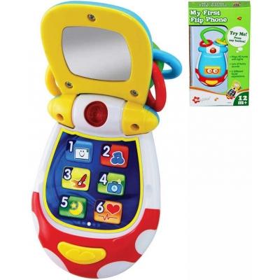 Baby telefon vyklápěcí mobil barevný na baterie pro miminko Světlo Zvuk
