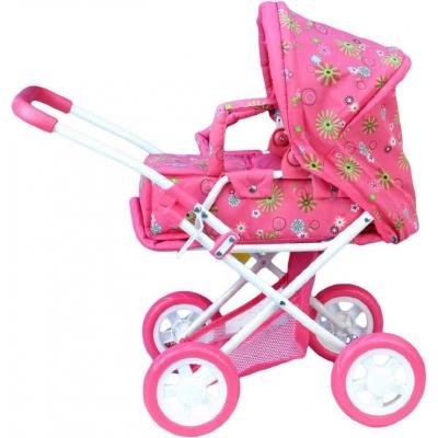 Kočárek pro panenky hluboký 62x37x66cm růžový plast + kov