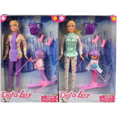 Panenka Defa Lucy zimní set maminka 29cm s dcerkou na lyžích 2 druhy