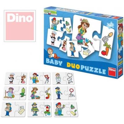 DINO Puzzle baby duo skládačka profese 9 dvojic 18 dílků v krabici 9x6cm