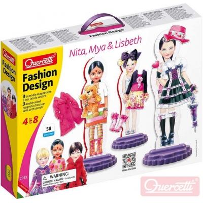QUERCETTI Fashion Design Nita, Mya and Lisbeth magnetické šablony obleč panenku