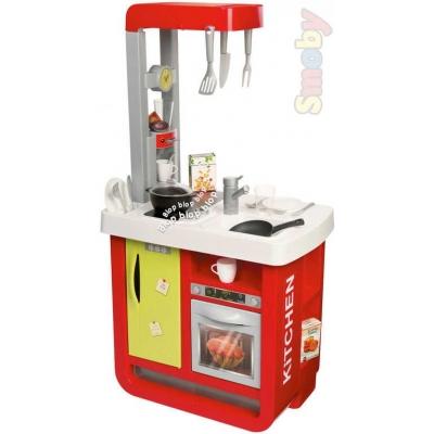 SMOBY Kuchyňka dětská Bon Appetit na baterie červeno-zelená na baterie Zvuk