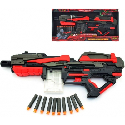 Set pistole dětská 54cm + pěnové náboje 10ks na baterie v krabici plast