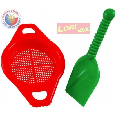 LORI 211 Lopatka + sítko plastový set na písek 4 barvy