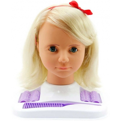 Hamiro hlava česací velká blond set s doplňky v krabici