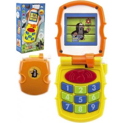 Baby Krtkův mobil měnící obrázky Krteček oranžový na baterie Světlo Zvuk pro miminko