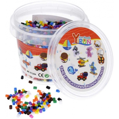 Korálky zažehlovací barevné 0,5cm set 5000ks v kyblíku plast