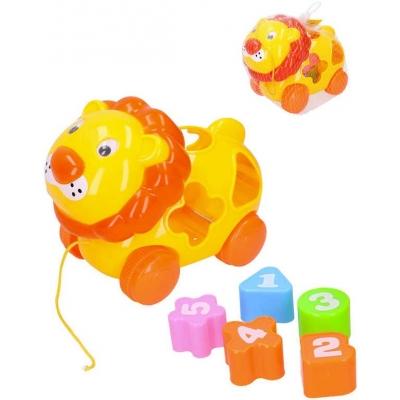 Baby vkládačka lev 20cm vkládací zvířátko s 5 tvary počítání pro miminko