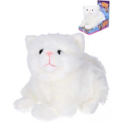 PLYŠ Kočka mňoukací 23cm hýbe hlavou a ocáskem na baterie Zvuk