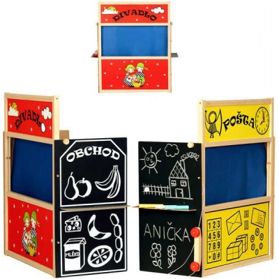 Čtyřkombinace 4v1 Divadlo Pošta Obchod Tabule DŘEVO set