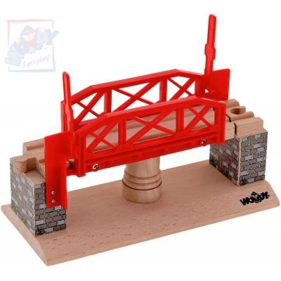 WOODY DŘEVO Otáčecí most doplněk k vláčkodráze *DŘEVĚNÉ HRAČKY*