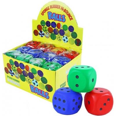 Míček soft pěnový 6cm kostka hrací měkká 3 barvy