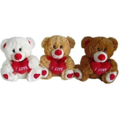 PLYŠ Medvídek se srdíčkem 15cm I Love You 3 barvy PLYŠOVÉ HRAČKY