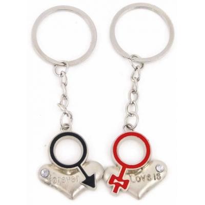 Přívěsek kovový srdíčko na klíče Valentýn Love is forever set 2ks v sáčku