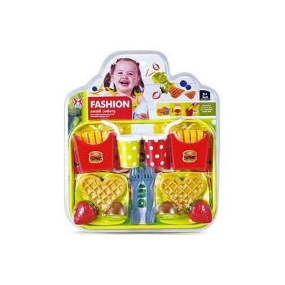 Souprava kuchyňská fast food dětské makety potravin s příbory a talířky na kartě