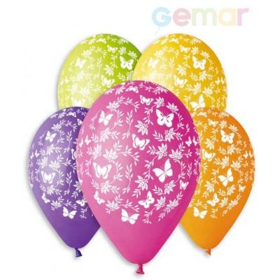 GEMAR Balónek nafukovací 30cm Pastelový potisk MOTÝLCI různé barvy 1ks