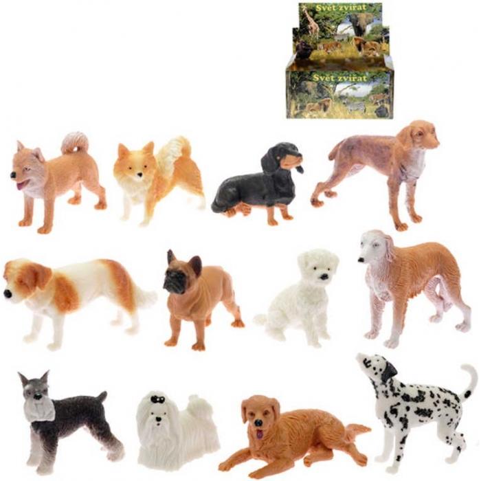 Pejsek figurka plastová 5-10cm různé rasy 12 druhů