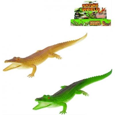 Krokodýl pískací 30cm plastové zvířátko 2 barvy