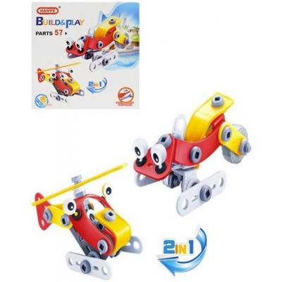 Build and Play stavebnice šroubovací Letadlo / Skútr 2v1 57 dílků v krabici