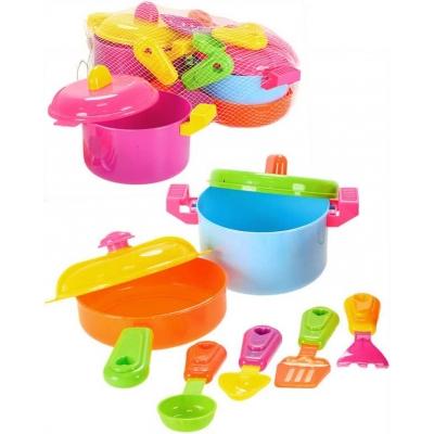 Nádobí dětské barevné v síťce sada hrnců s pánvicí a doplňky plast
