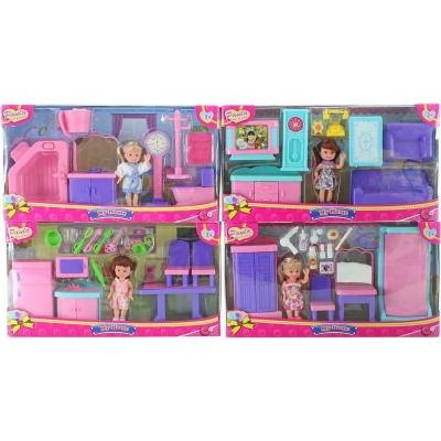 Panenka Paula 10cm set s nábytkem a doplňky v krabičce 4 druhy