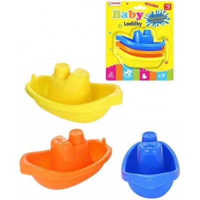 Baby lodičky barevné plastové 11cm do vany set 3 ks pro miminko na blistru